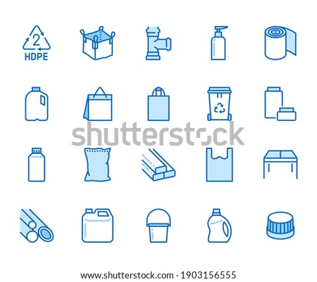 High density polyethylene flat line icons. HDPE products - jerry can, plastic canister, pipes, milk jug, garbage container vector illustrations. Thin signs of packaging. Blue color, Editable Stroke.