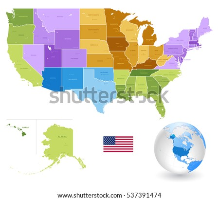 Colorful Vector Map Of The United States Download Free Vector - Labeled us map vector