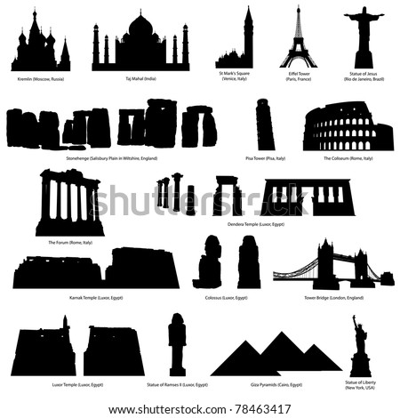 High Detail landmarks silhouette set with description of title and place. Vector illustration.