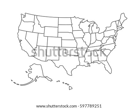 High Detail of US Map Outline Vector With Zoning Area