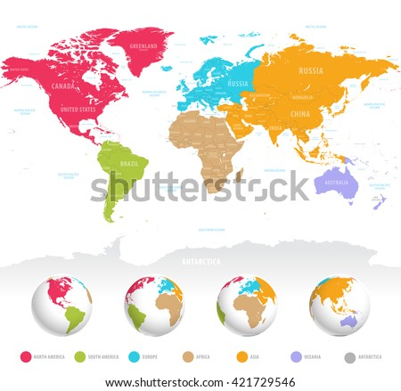 High detail vector colorful map of the world with political