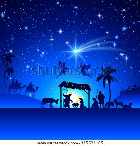 high detail vector nativity