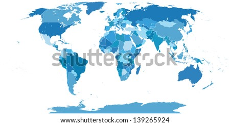 High Detail World map.All elements are separated in editable layers clearly labeled Vector
