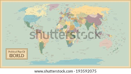 Vintage world map vector download free vector art stock graphics high detail world mapl elements are separated in editable layers clearly labeled vector gumiabroncs Images