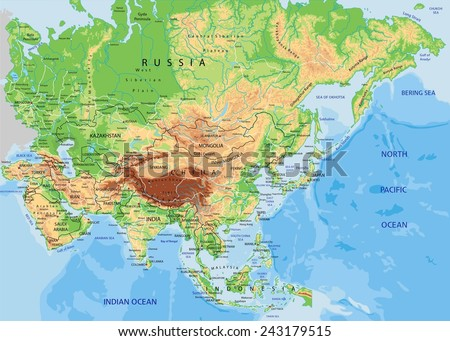 high detailed asia physical map