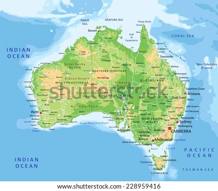 high detailed australia physical map with labeling