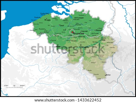 High detailed Belgium physical map with cities, rivers, lakes and topography - Vector illustration