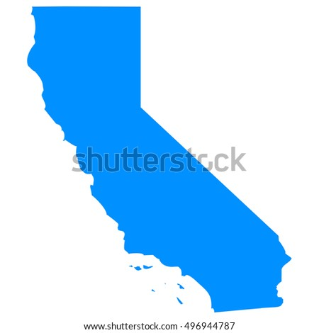 High detailed blue vector map - California