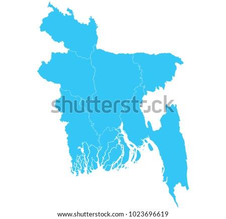 Ilustracin vectorial de la ubicacin de bangladesh y mapa del mundo high detailed blue vector map departments of bangladesh map gumiabroncs Gallery
