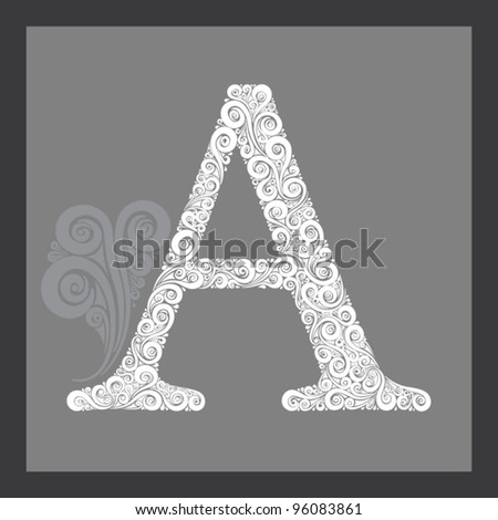 High detailed calligraphic capital letter A.