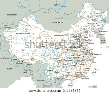 high detailed china road map