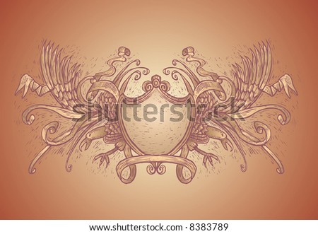 High detailed coat of arms in engrave style. All vector