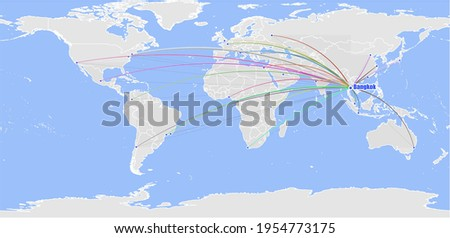 High detailed concept vector map for Bangkok, Thailand's connections with other major cities around the world. The map shows Bangkok, Thailand's location in the world with colorful links with other ci Stock fotó ©