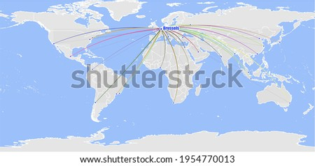 High detailed concept vector map for Brussels, Belgium's connections with other major cities around the world. The map shows Brussels, Belgium's location in the world with colorful links with other ci Stock fotó ©