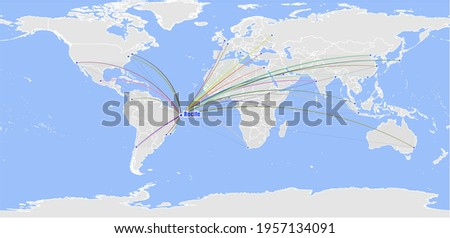 High detailed concept vector map for Recife, Brazil's connections with other major cities around the world. The map shows Recife, Brazil's location in the world with colorful links to other cities. Foto stock ©