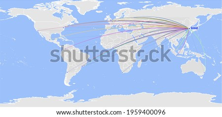 High detailed concept vector map for Seoul, South Korea's connections with other major cities around the world. The map shows Seoul, South Korea's location in the world with colorful links to other ci Stock fotó ©
