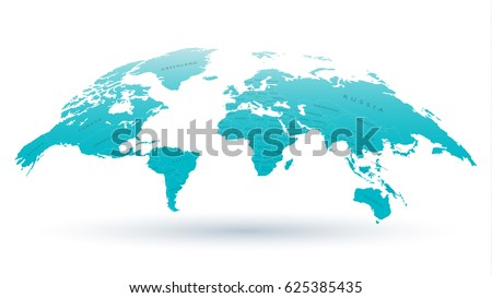 High Detailed 3D Map of the World with National Borders for Scientific Presentations, Articles or Web Design. Vector Illustration