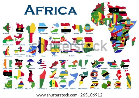 High detailed, editable maps and flags on white background of all African countries.