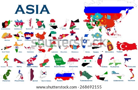 High detailed, editable maps and flags on white background of all Asian countries.