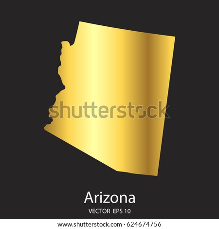 high detailed. gold arizona map ...