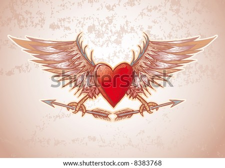 high detailed heart crest in engrave style