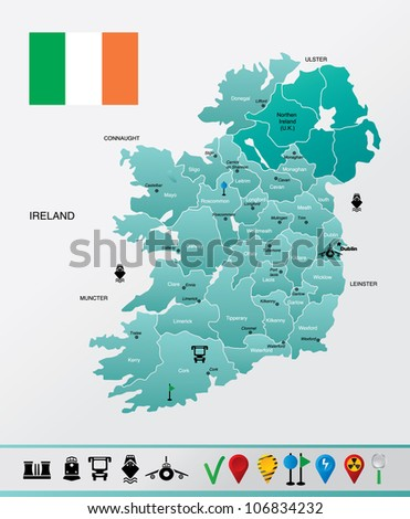High detailed Ireland map with with towns and navigation icons. EPS 8 file format.