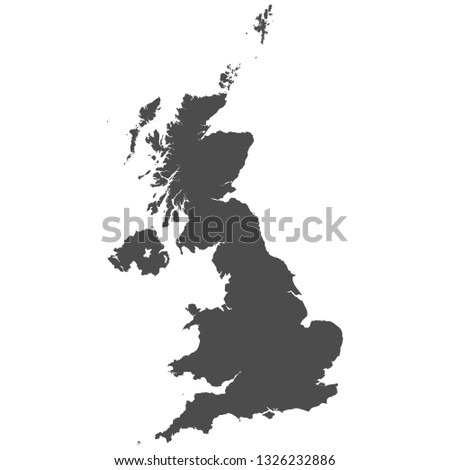 High detailed isolated map - United Kingdom