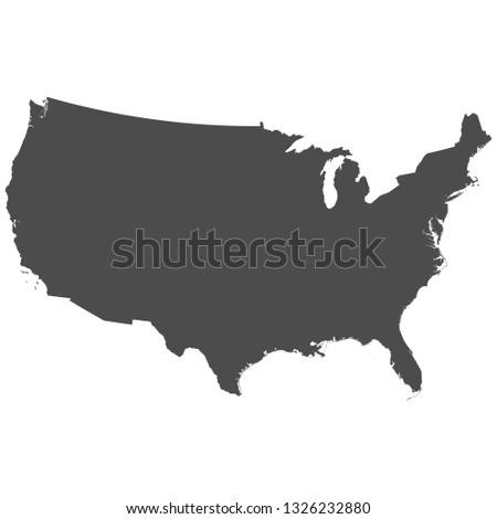 High detailed isolated map - USA