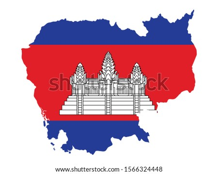 High Detailed Map Flag of Cambodia isolated on white background. Vector illustration eps 10.