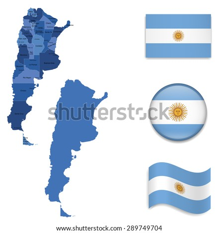 high detailed map of argentina