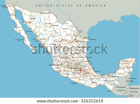 high detailed mexico road map