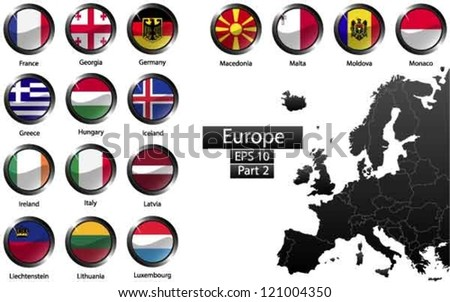 High detailed national flags of European countries, clipped in round shape glossy metal buttons, vector , part 2