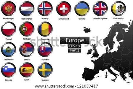 High detailed national flags of European countries, clipped in round shape glossy metal buttons, vector , part 3