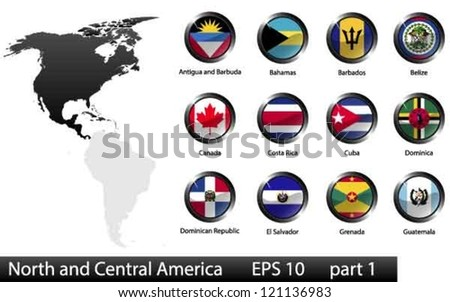 High detailed national flags of North and Central American countries, clipped in round shape glossy metal buttons, vector, part 1
