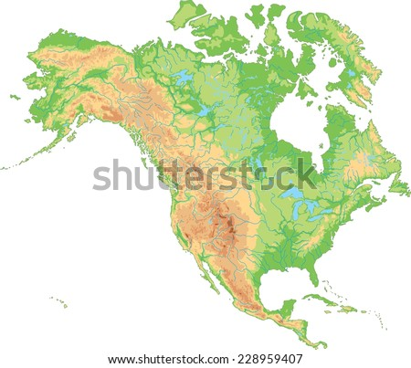 North america map vector download free vector art stock graphics high detailed north america physical map publicscrutiny Gallery