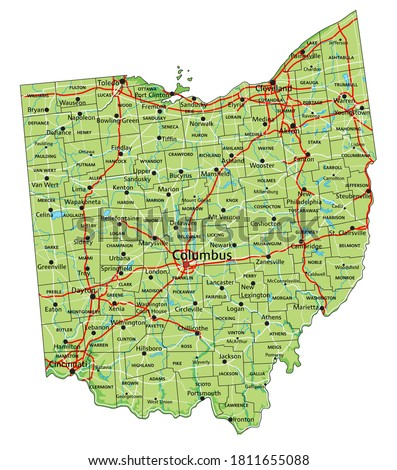 High detailed Ohio physical map with labeling.