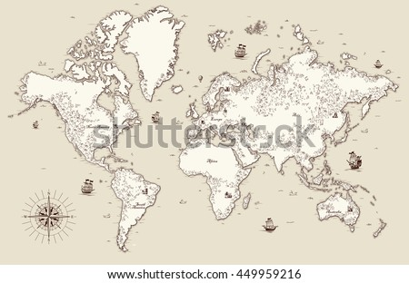 High detailed, Old world map with decorative elements #449959216