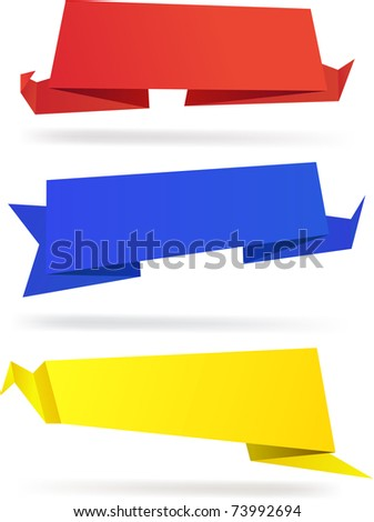 High-detailed paper origami label. Vector eps8. - stock vector