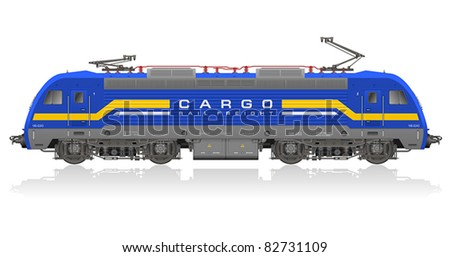High detailed photorealistic vector model of blue electric locomotive isolated on white reflective background