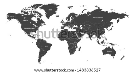 High Detailed Political countries World Map. Vector illustration.