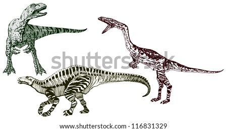 High Detailed Realistic Hand Drawn Vector Set of Three Dinosaurs