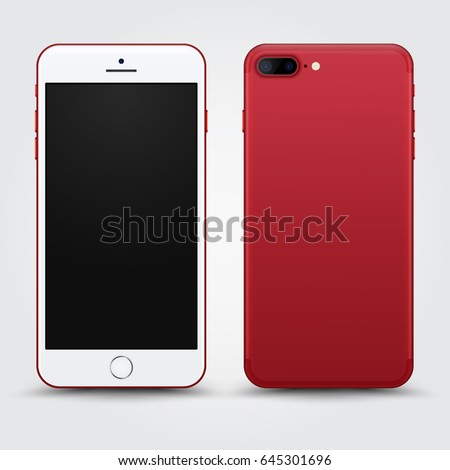 High Detailed Realistic Red Smartphone with Blank Screen isolated on White Background. Front and Back View For Print, Web, Application. Device Mockup Separate Groups and Layers. Easily Editable Vector