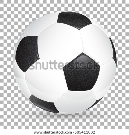 High Detailed Realistic Soccer ball on transparent background. Isolated vector illustration on transparent background.