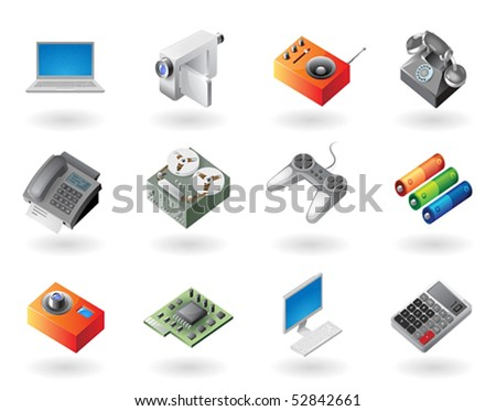 High detailed realistic vector icons for electronics devices