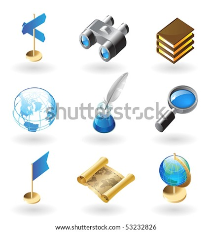 High detailed realistic vector icons for geography