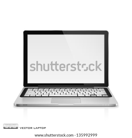 High detailed realistic vector illustration of modern laptop with blank screen on white background.