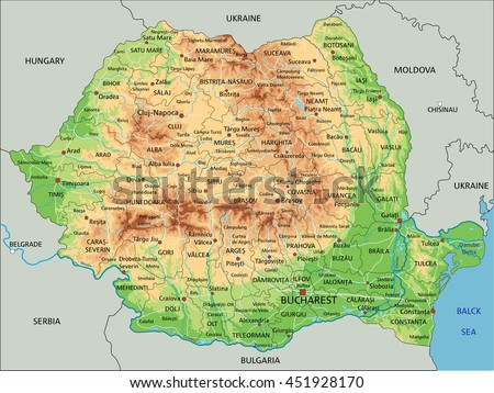 Free Romania Map Vector Download Free Vector Art Stock Graphics - World physical map labeled