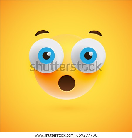 High detailed smiley on yellow background, vector illustration