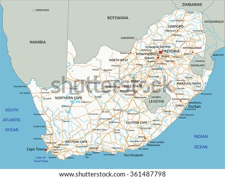 High detailed South Africa road map with labeling.
