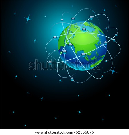High-detailed transportation Earth in space. Vector.